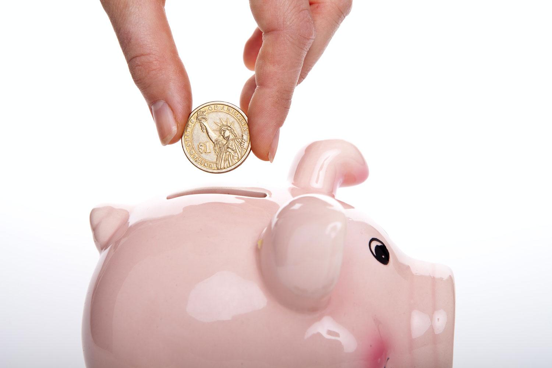 Ahorro de dinero en hucha