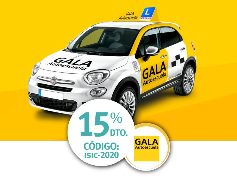 Autoescuela GALA 15% descuento ISIC